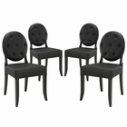 Modway Button Dining Side Chair Faux Leather Set of 4 in Black MY-EEI-1280-BLK