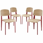 Modway Cabin Dining Side Chair Set of 4 in Red MY-EEI-1263-RED