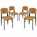 Modway Cabin Dining Side Chair Set of 4 in Walnut MY-EEI-1263-WAL