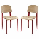 Modway Cabin Dining Side Chair Wood Set of 2 in Red MY-EEI-1262-RED