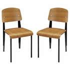 Modway Cabin Dining Side Chair Wood Set of 2 in Walnut MY-EEI-1262-WAL