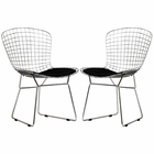 Modway CAD Dining Chairs Chrome Steel and Faux Leather Set of 2 in Black MY-EEI-925-BLK