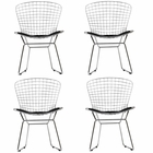 Modway CAD Dining Chairs Chrome Steel and Faux Leather Set of 4 in Black MY-EEI-926-BLK