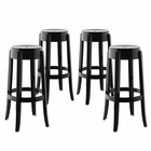 Modway Casper Bar Stool Transparent Set of 4 in Black MY-EEI-1680-BLK