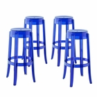Modway Casper Bar Stool Transparent Set of 4 in Blue MY-EEI-1680-BLU