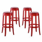 Modway Casper Bar Stool Transparent Set of 4 in Red MY-EEI-1680-RED