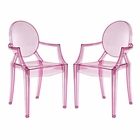Modway Casper Dining Armchairs Acrylic Set of 2 in Pink MY-EEI-905-PNK