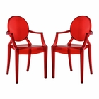 Modway Casper Dining Armchairs Acrylic Set of 2 in Red MY-EEI-905-RED