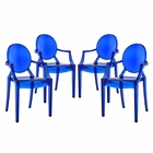 Modway Casper Dining Armchairs Acrylic Set of 4 in Blue MY-EEI-1769-BLU