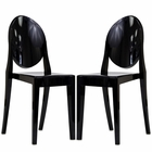 Modway Casper Dining Side Chairs Acrylic Set of 2 in Black MY-EEI-906-BLK