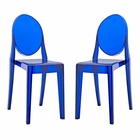 Modway Casper Dining Side Chairs Acrylic Set of 2 in Blue MY-EEI-906-BLU