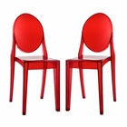 Modway Casper Dining Side Chairs Acrylic Set of 2 in Red MY-EEI-906-RED
