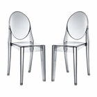 Modway Casper Dining Side Chairs Acrylic Set of 2 in Smoke MY-EEI-906-SMK
