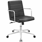 Modway Cavalier Mid Back Faux Leather Office Chair in Black MY-EEI-2125-BLK