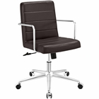 Modway Cavalier Mid Back Faux Leather Office Chair in Brown MY-EEI-2125-BRN