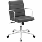 Modway Cavalier Mid Back Faux Leather Office Chair in Gray MY-EEI-2125-GRY