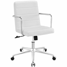 Modway Cavalier Mid Back Faux Leather Office Chair in White MY-EEI-2125-WHI