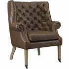 Modway Chart Faux Leather Lounge Chair in Brown MY-EEI-2147-BRN