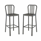 Modway Clink Bar Stools Brushed Steel Set of 2 in Silver MY-EEI-2965-SLV-SET