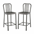 Modway Clink Counter Stool Brushed Steel Set of 2 in Silver MY-EEI-2954-SLV-SET