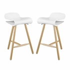 Modway Clip Bar Stools Set of 2 in White MY-EEI-2405-WHI-SET