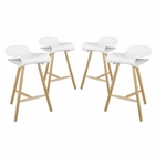 Modway Clip Bar Stools Set of 4 in White MY-EEI-2406-WHI-SET