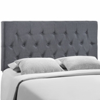 Modway Clique Queen Tufted Upholstered Fabric Headboard in Smoke MY-MOD-5202-SMK