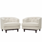 Modway Coast Armchairs Upholstered Fabric Set of 2 in Beige MY-EEI-2449-BEI-SET