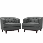 Modway Coast Armchairs Upholstered Fabric Set of 2 in Gray MY-EEI-2449-GRY-SET