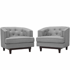 Modway Coast Armchairs Upholstered Fabric Set of 2 in Light Gray MY-EEI-2449-LGR-SET
