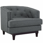 Modway Coast Upholstered Fabric Armchair in Gray MY-EEI-2130-GRY