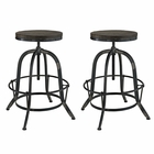 Modway Collect Bar Stool Pine Wood and Iron Set of 2 in Black MY-EEI-1603-BLK-SET