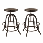Modway Collect Bar Stool Pine Wood and Iron Set of 2 in Brown MY-EEI-1603-BRN-SET