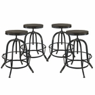 Modway Collect Bar Stool Pine Wood and Iron Set of 4 in Black MY-EEI-1607-BLK-SET