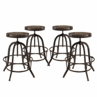 Modway Collect Bar Stool Pine Wood and Iron Set of 4 in Brown MY-EEI-1607-BRN-SET
