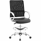Modway Command Mesh and Vinyl Mesh and Faux Leather Drafting Chair in Black MY-EEI-2865-BLK