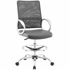 Modway Command Mesh and Vinyl Mesh and Faux Leather Drafting Chair in Gray MY-EEI-2865-GRY