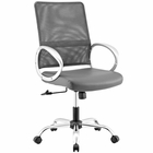 Modway Command Mesh and Vinyl Mesh and Faux Leather Office Chair in Gray MY-EEI-2861-GRY