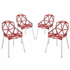 Modway Connections Dining Chair Aluminum Set of 4 in Red MY-EEI-1359-RED