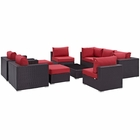 Modway Convene 10 Piece Outdoor Patio Wicker Rattan Sectional Set in Espresso Red MY-EEI-2169-EXP-RED-SET