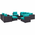 Modway Convene 10 Piece Outdoor Patio Wicker Rattan Sectional Set in Espresso Turquoise MY-EEI-2169-EXP-TRQ-SET