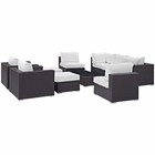 Modway Convene 10 Piece Outdoor Patio Wicker Rattan Sectional Set in Espresso White MY-EEI-2169-EXP-WHI-SET