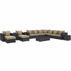 Modway Convene 11 Piece Outdoor Patio Wicker Rattan Sectional Set in Espresso Mocha MY-EEI-2166-EXP-MOC-SET