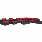 Modway Convene 11 Piece Outdoor Patio Wicker Rattan Sectional Set in Espresso Red MY-EEI-2166-EXP-RED-SET