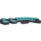 Modway Convene 11 Piece Outdoor Patio Wicker Rattan Sectional Set in Espresso Turquoise MY-EEI-2166-EXP-TRQ-SET