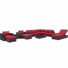 Modway Convene 12 Piece Outdoor Patio Wicker Rattan Sectional Set in Espresso Red MY-EEI-2165-EXP-RED-SET
