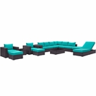 Modway Convene 12 Piece Outdoor Patio Wicker Rattan Sectional Set in Espresso Turquoise MY-EEI-2165-EXP-TRQ-SET