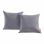 Modway Convene 2 Piece Outdoor Patio Wicker Rattan Pillow Set in Gray MY-EEI-2001-GRY