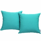 Modway Convene 2 Piece Outdoor Patio Wicker Rattan Pillow Set in Turquoise MY-EEI-2001-TRQ