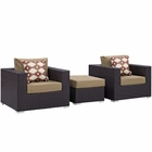Modway Convene 3 Piece Outdoor Patio Wicker Rattan Sofa Set in Espresso Mocha MY-EEI-2363-EXP-MOC-SET